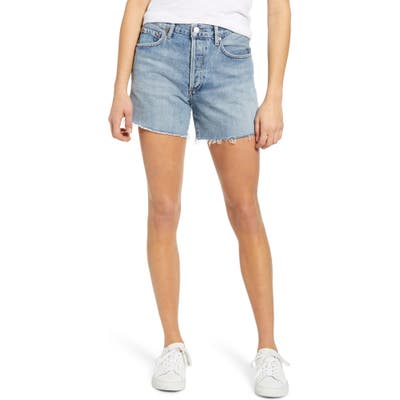 Agolde Reese High Waist Cutoff Denim Shorts, Blue