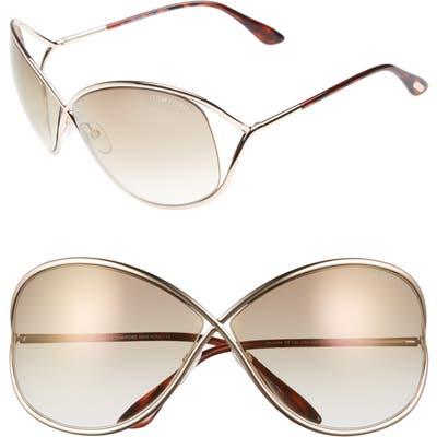 Tom Ford Miranda Open Temple Oversize Metal Sunglasses - Shiny Rose Gold/ Brown