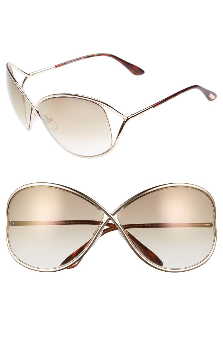TOM FORD Miranda 68mm Open Temple Oversize Metal Sunglasses, Main, color, SHINY ROSE GOLD/ BROWN