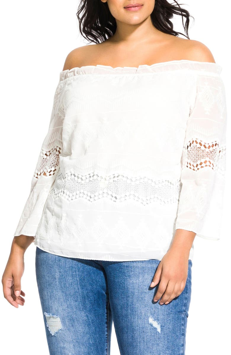 CITY CHIC Lace Darling Off the Shoulder Top, Main, color, IVORY
