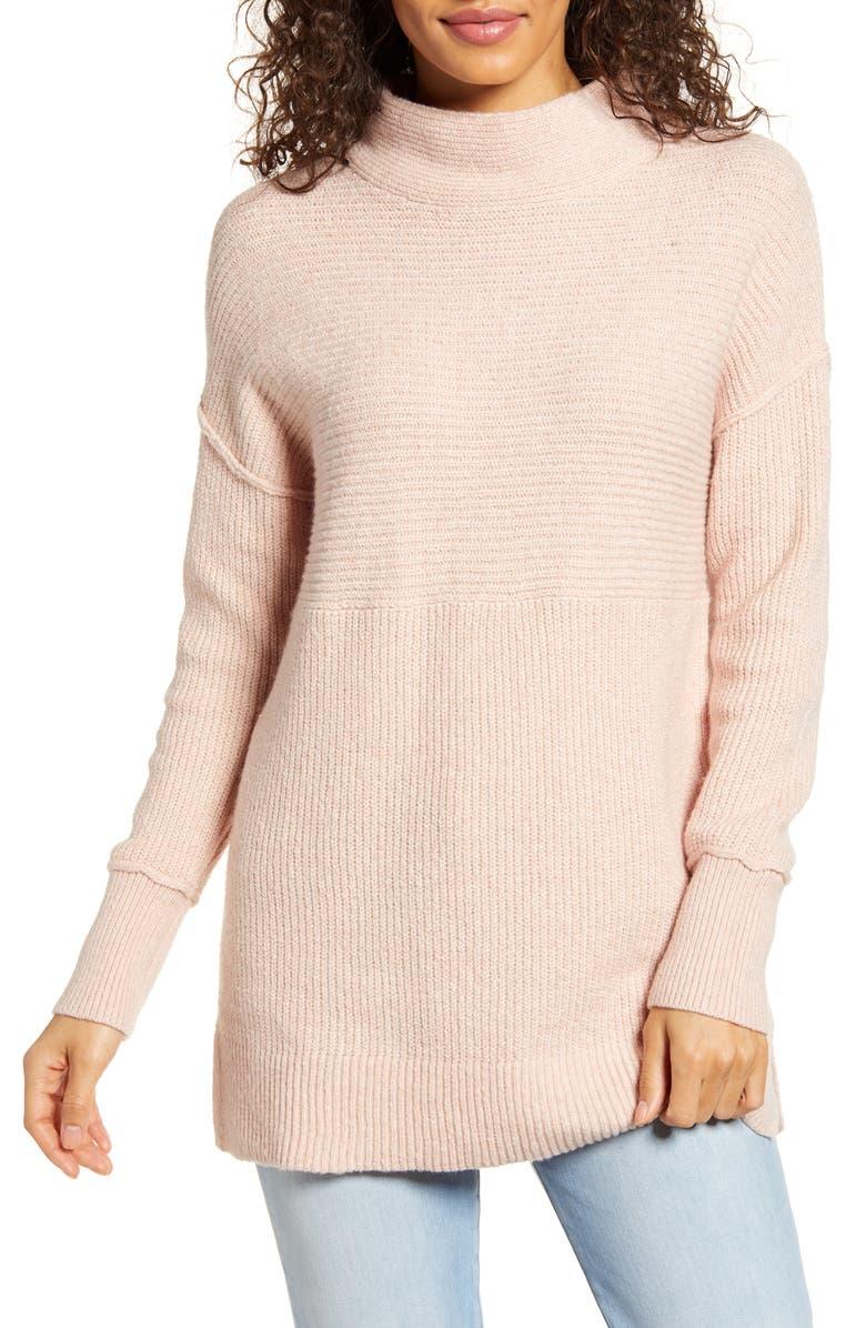 CASLON<SUP>®</SUP> Ribbed Tunic Sweater, Main, color, PINK SMOKE