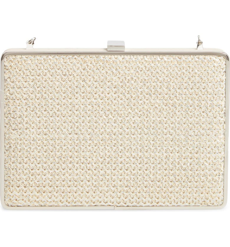 MALI + LILI Heather Minaudière Crossbody Bag, Main, color, WHITE/ SILVER