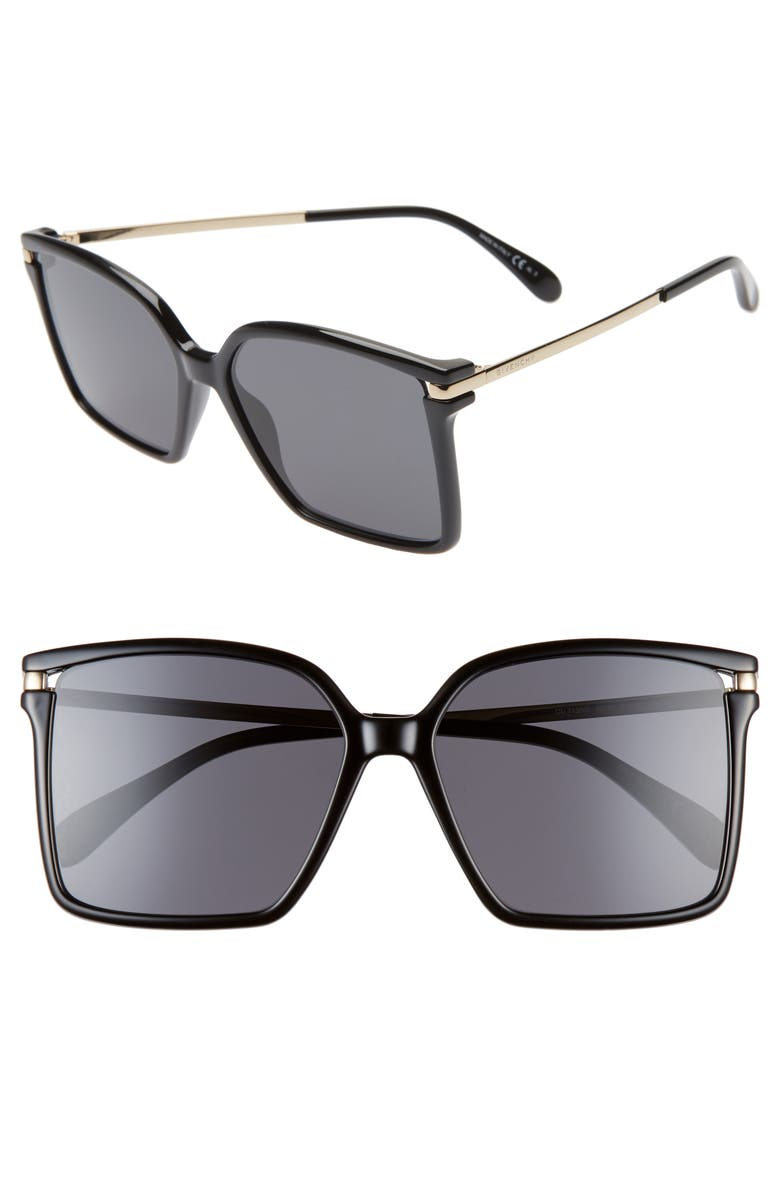 GIVENCHY 57mm Square Sunglasses, Main, color, 001