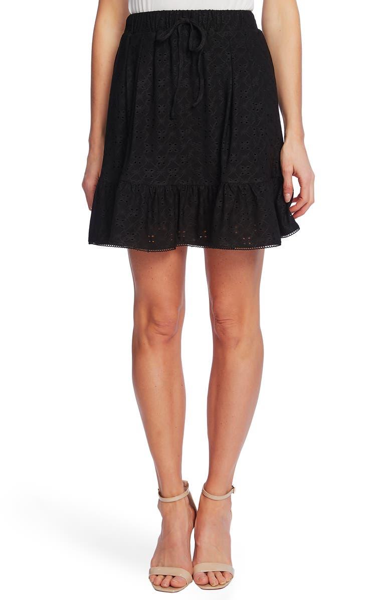 CECE Eyelet Ruffle Skirt, Main, color, RICH BLACK