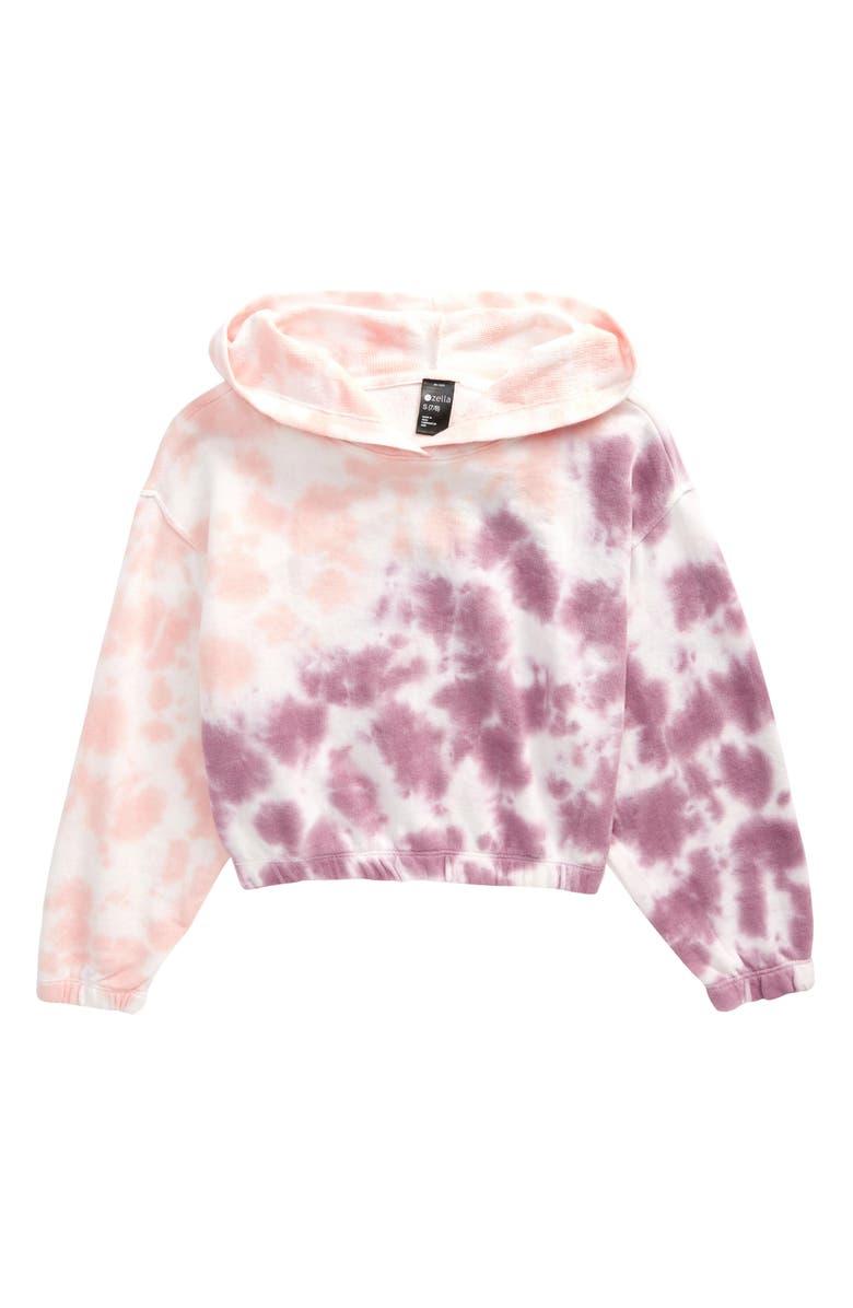 ZELLA GIRL Tie Dye Fleece Hooded Sweatshirt, Main, color, PURPLE DUSK TIE DYE