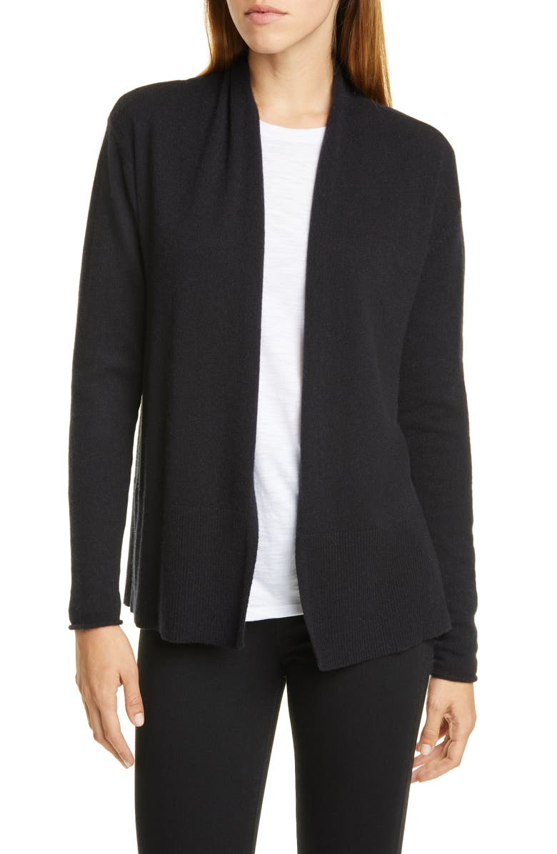 NORDSTROM SIGNATURE Open Cashmere Cardigan, Main, color, BLACK