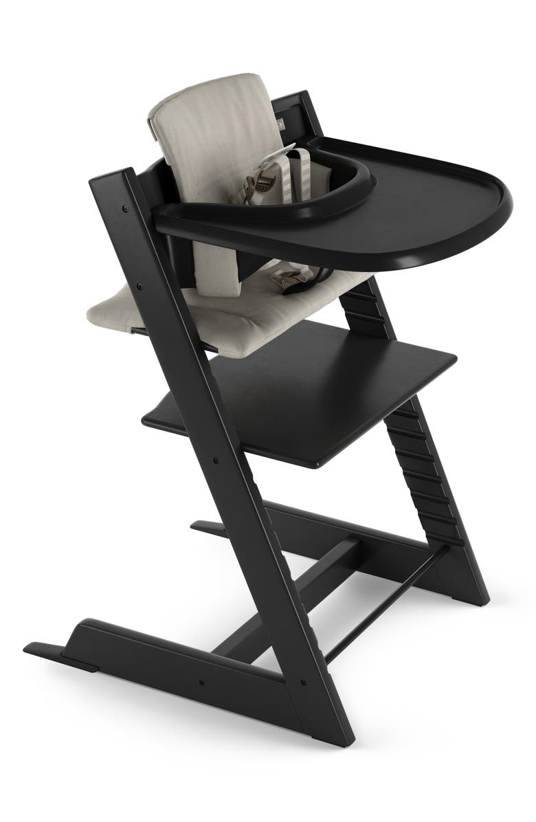 STOKKE Tripp Trapp<sup>®</sup> Chair, Baby Set, Cushion & Tray Set, Main, color, BLACK/ TIMELESS GREY