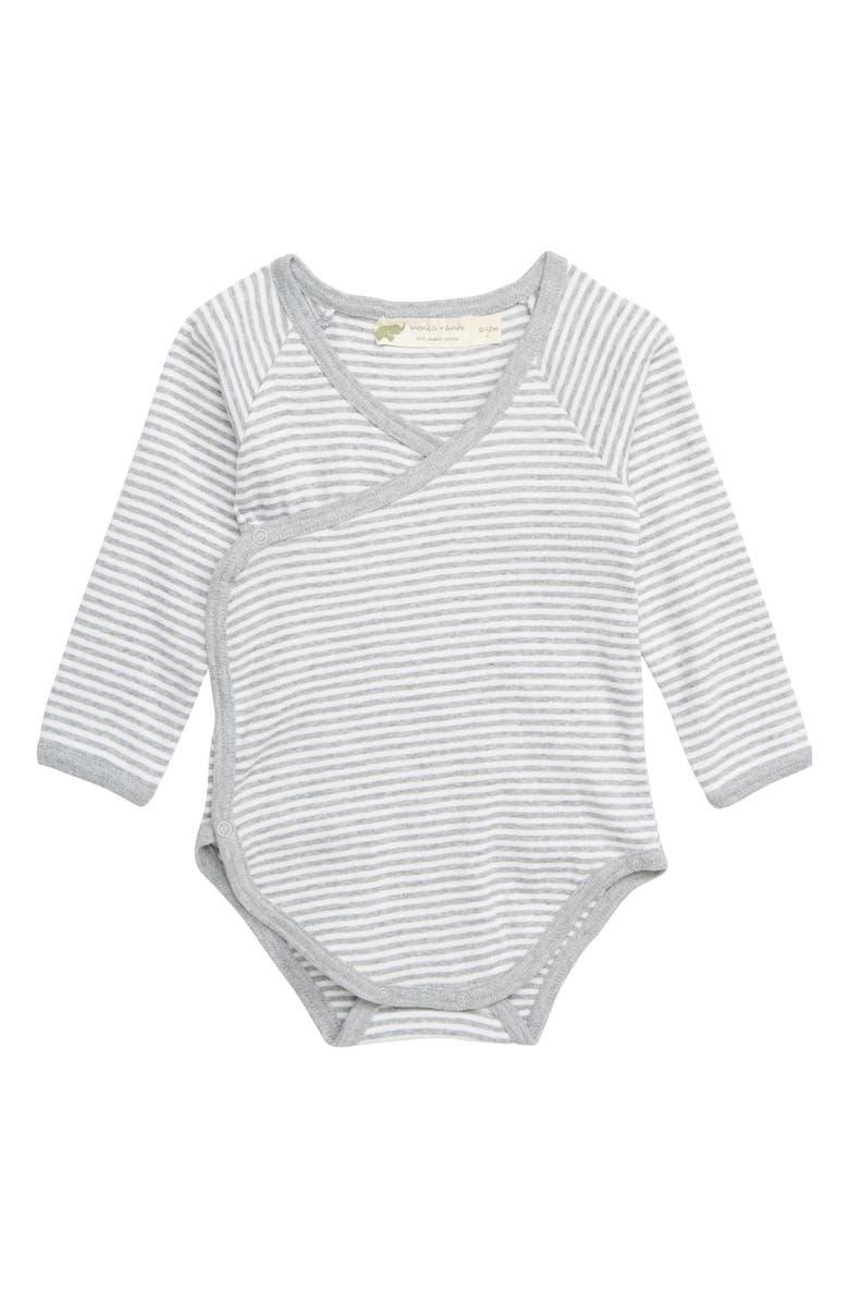 MONICA + ANDY Lucky Stripe Organic Cotton Wrap Bodysuit, Main, color, GREY STRIPE