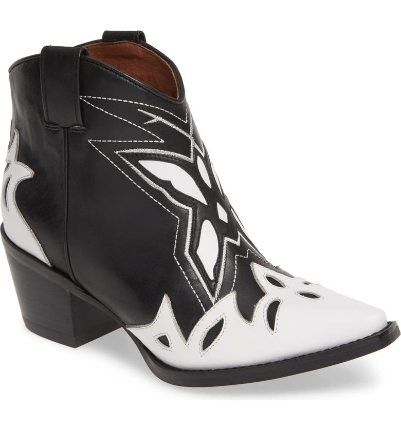JEFFREY CAMPBELL Tooney Western Boot, Main, color, WHITE/ BLACK LEATHER