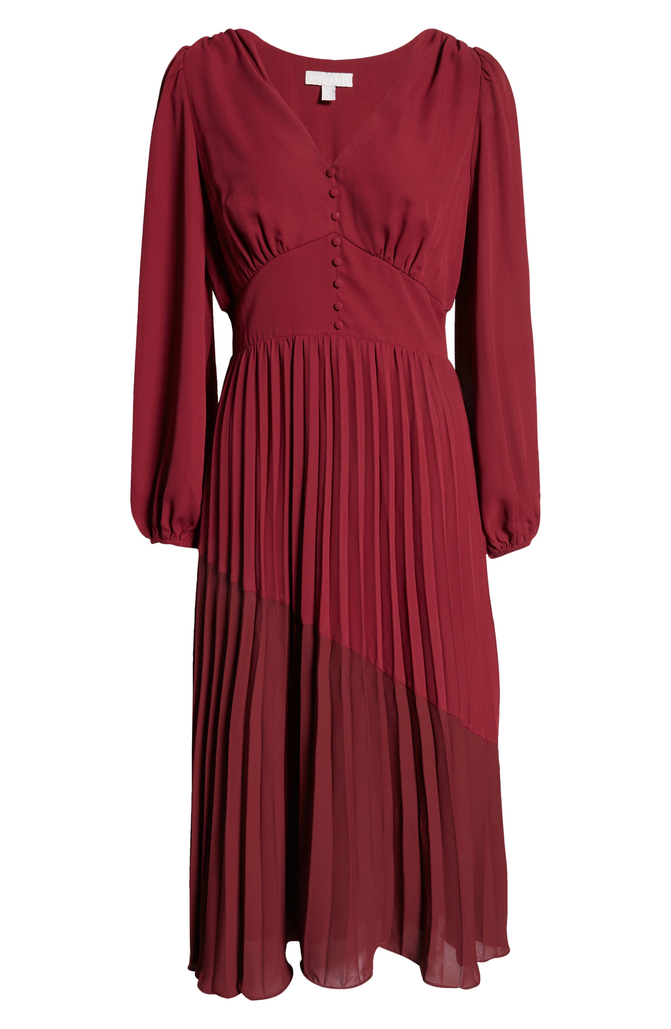 Button Pleated Long Sleeve Maxi Dress