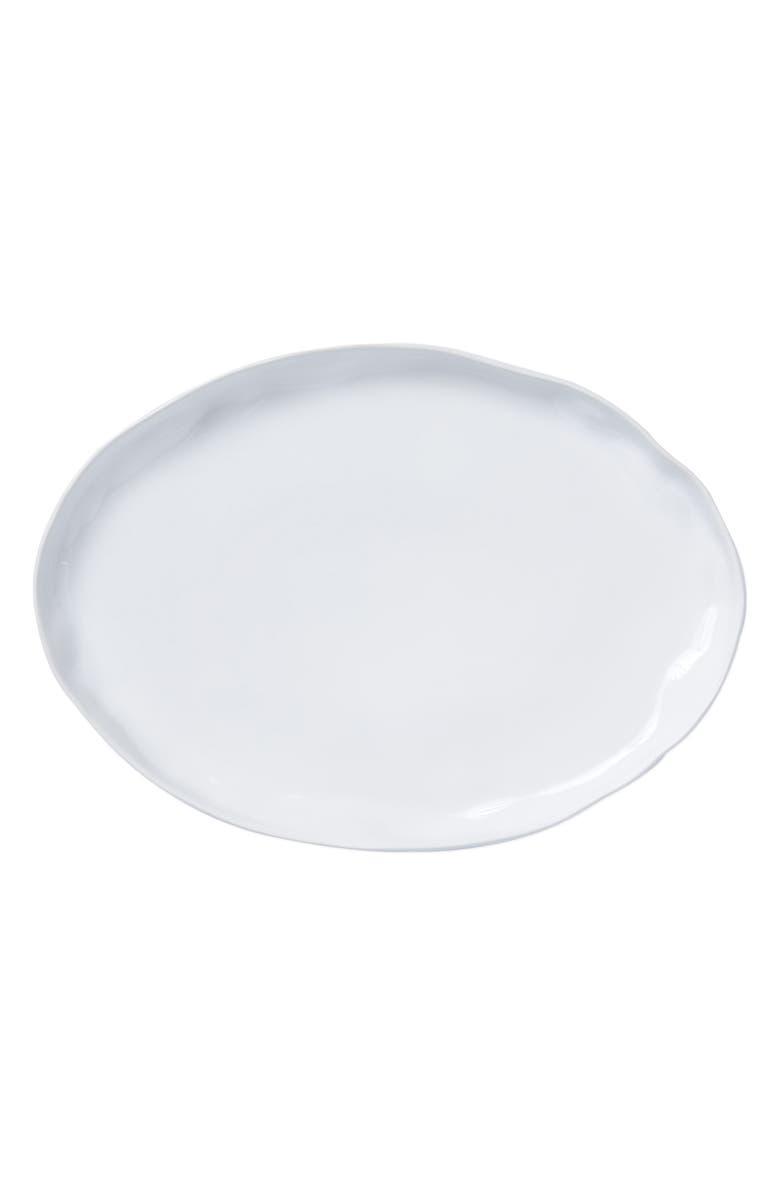 VIETRI Large Aurora Stoneware Platter, Main, color, SNOW