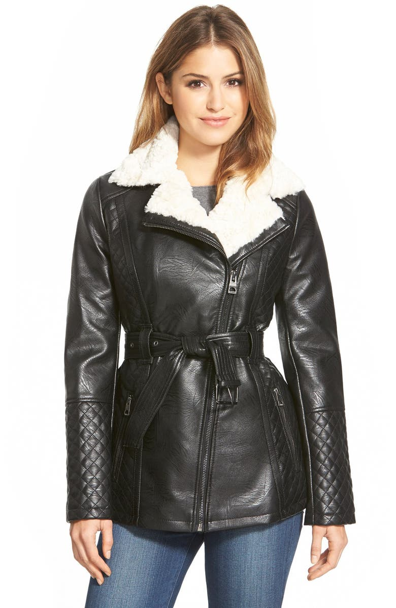 GUESS Belted Asymmetrical Faux Leather Coat with Faux Shearling Trim, Main, color, 001
