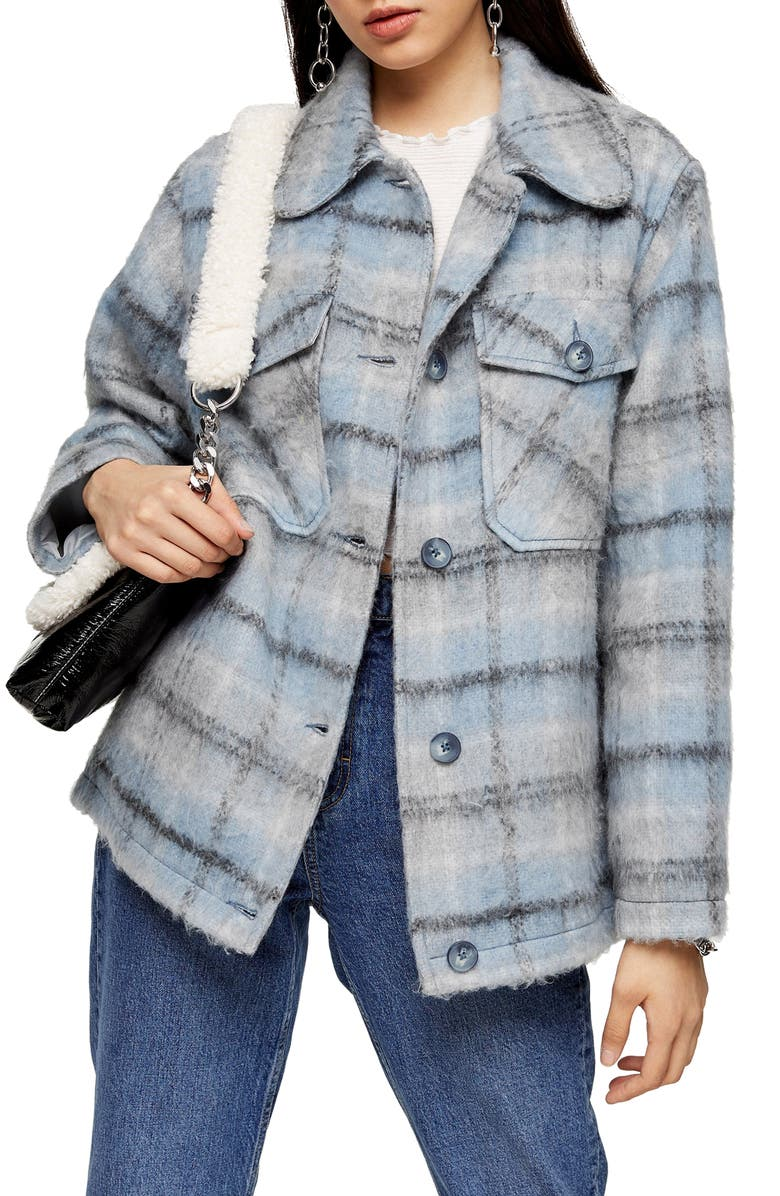 TOPSHOP Check Print Jacket, Main, color, BLUE MULTI