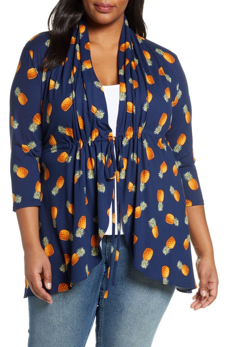 KIYONNA Lori Print Tunic Jacket, Main, color, PINEAPPLE PRINT