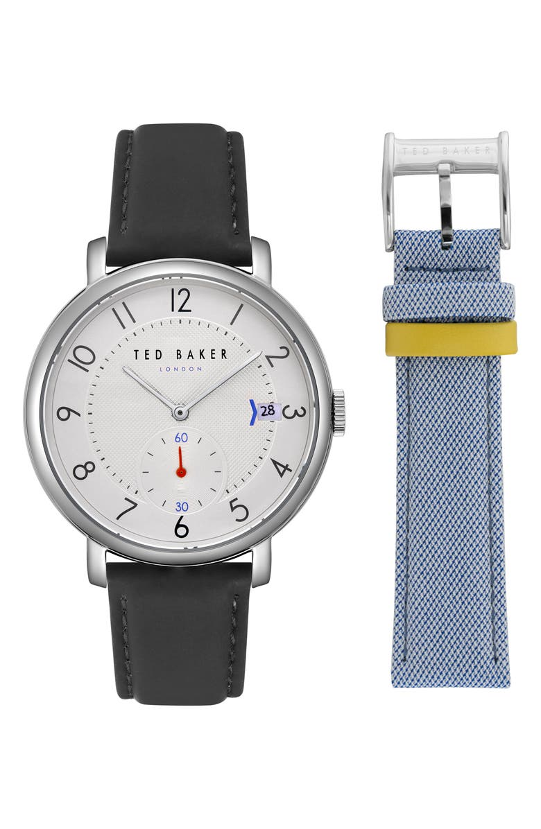 TED BAKER LONDON Oscar Leather Strap Watch & Mesh Strap Gift Set, 43mm, Main, color, SILVER/ BLACK