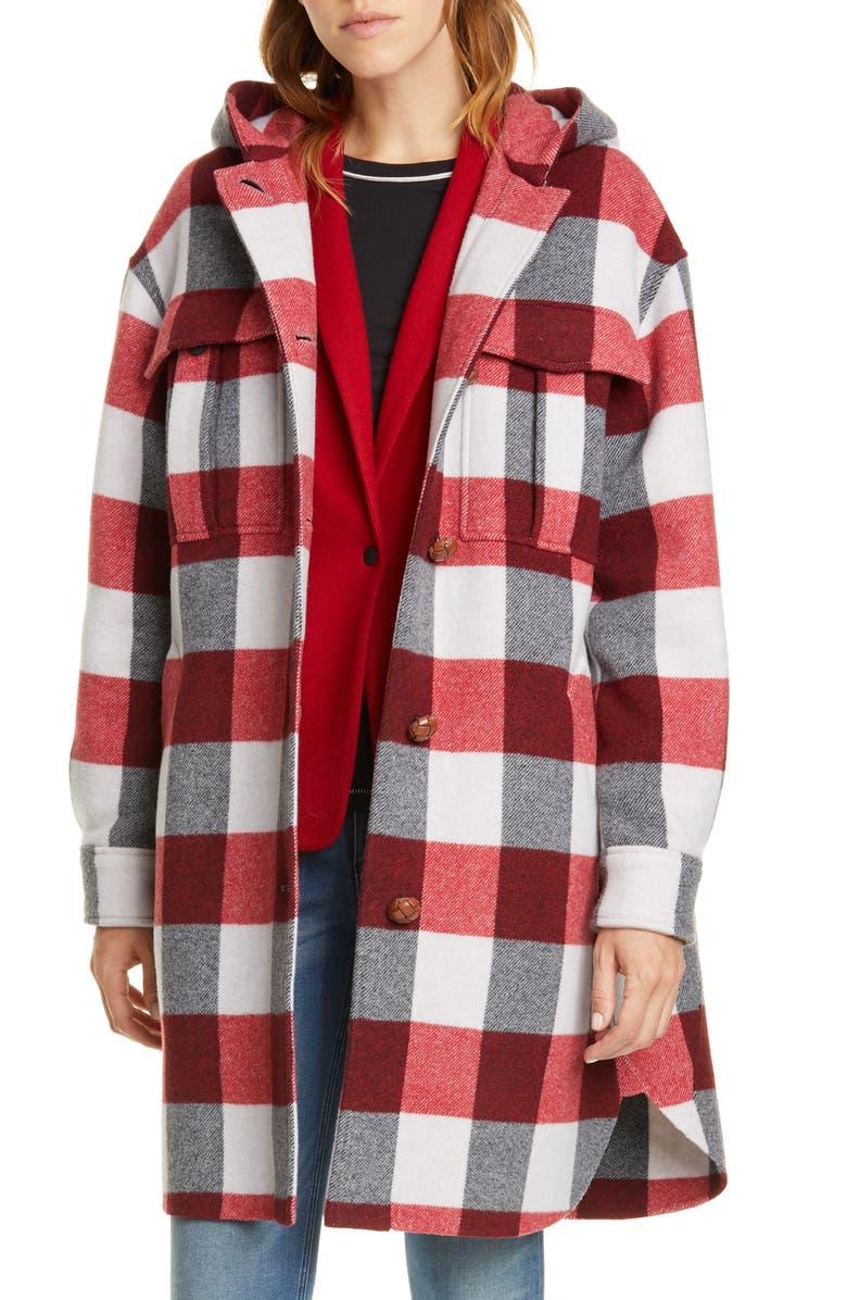 RAG & BONE Beck Buffalo Check Hooded Wool Blend Coat, Main, color, TANBLKCHK