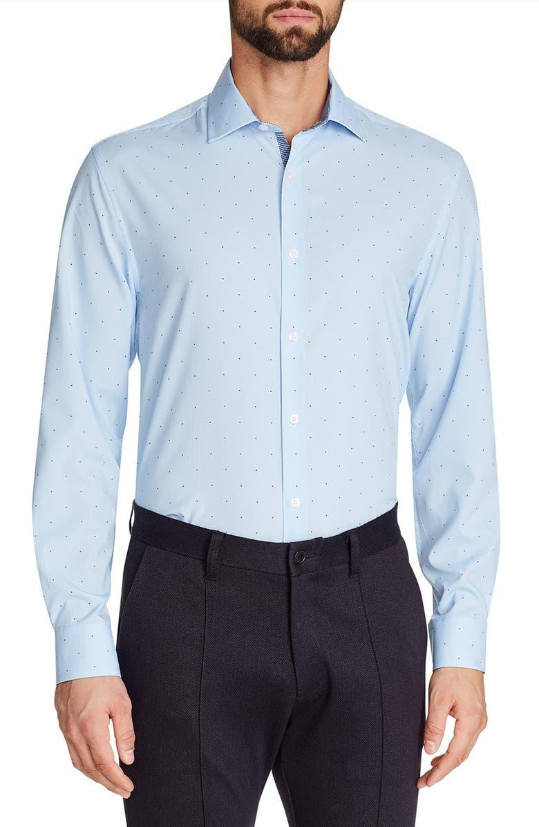 W.R.K Trim Fit Dot Performance Dress Shirt, Main, color, BLUE