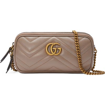 Gucci Leather Crossbody Bag - Beige