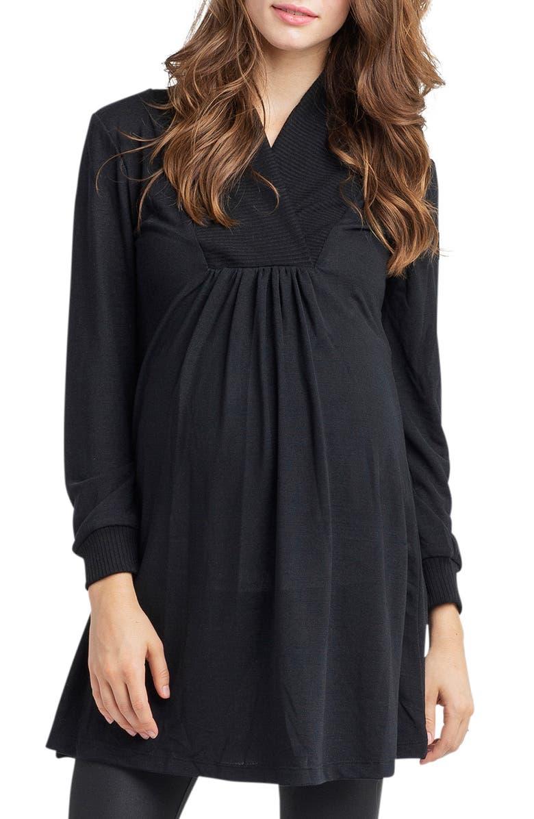 NOM MATERNITY Tanya Maternity Tunic, Main, color, BLACK