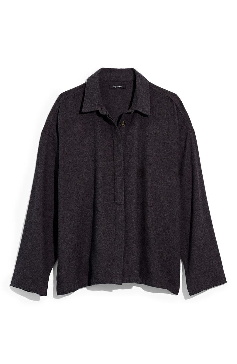 MADEWELL Bromley Flannel Shirt, Main, color, HTHR BLACK COAL