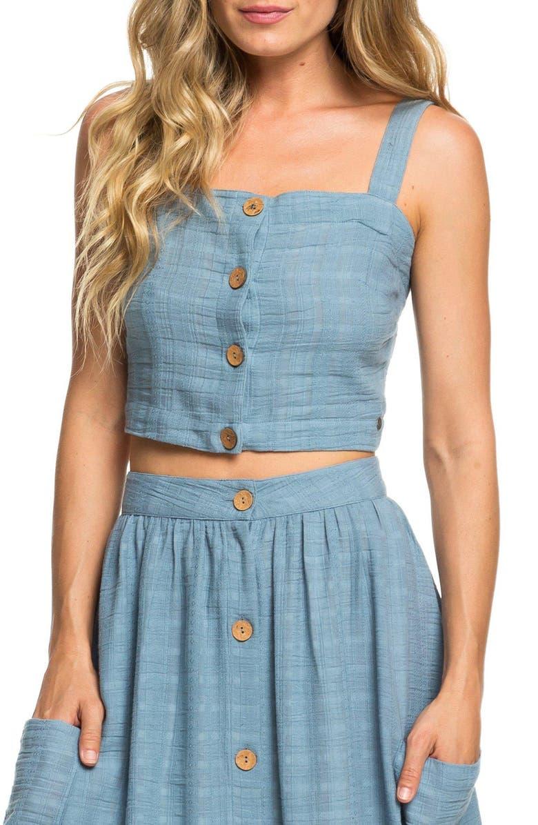 ROXY Ocean Groove Cotton Crop Top, Main, color, BLUE SHADOW