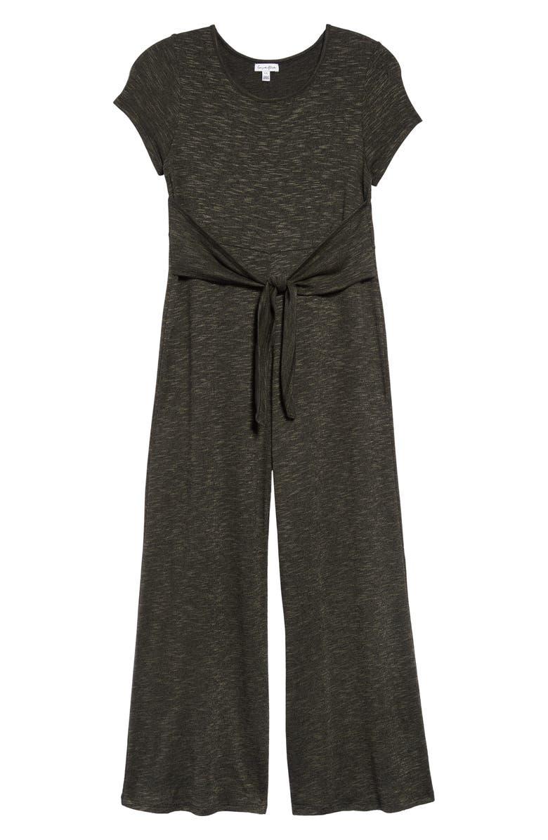 LOVE, FIRE Tie Front Crop Jumpsuit, Main, color, OLIVE HEATHER