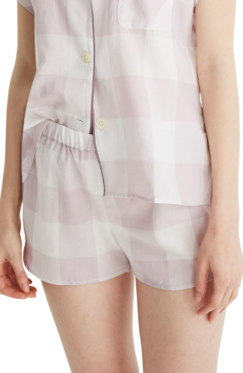 MADEWELL Lilac Gingham Bedtime Pajama Shorts, Main, color, 500
