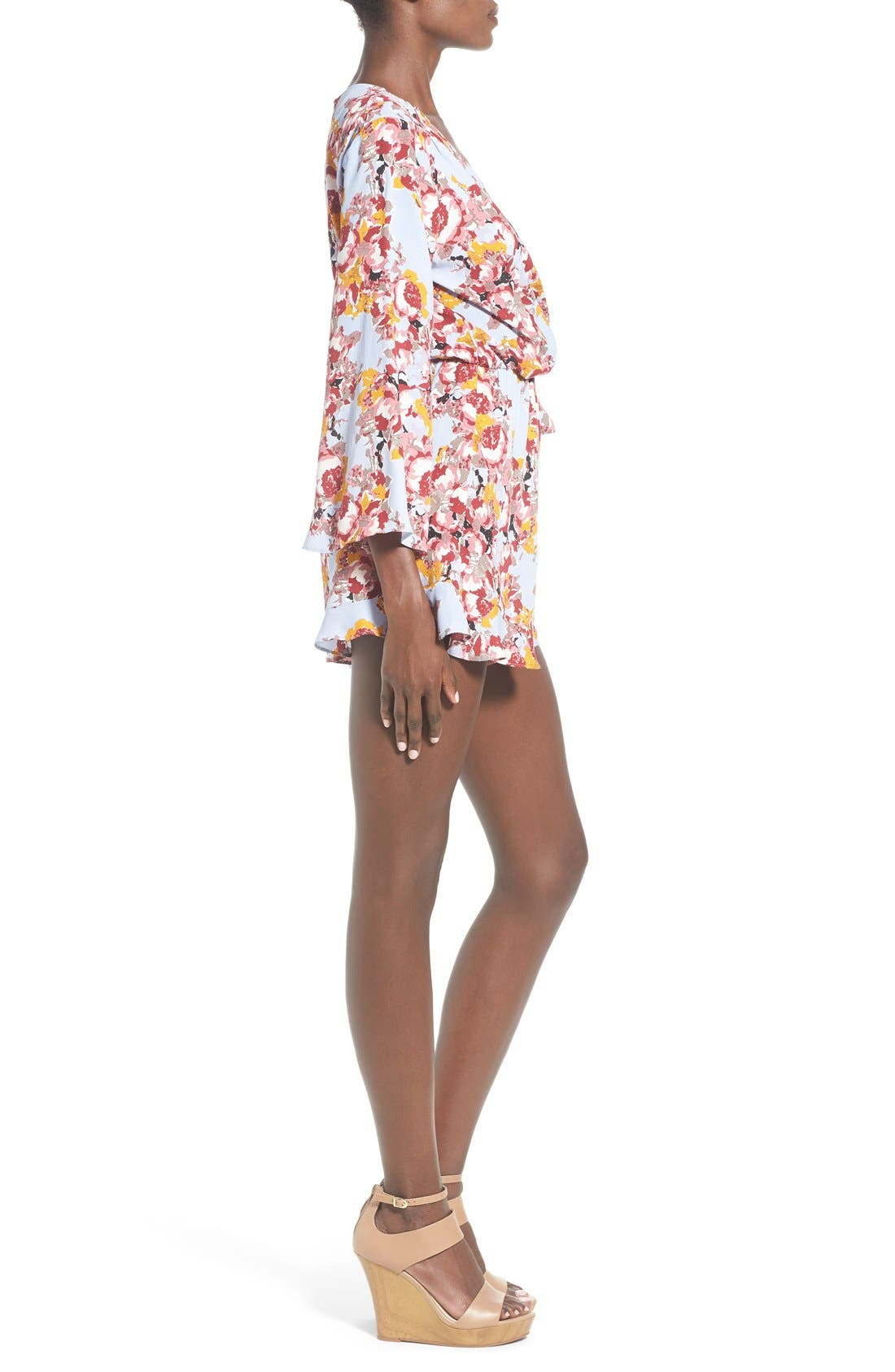 ,                             ASTR Floral Surplice Romper,                             Alternate thumbnail 12, color,                             400
