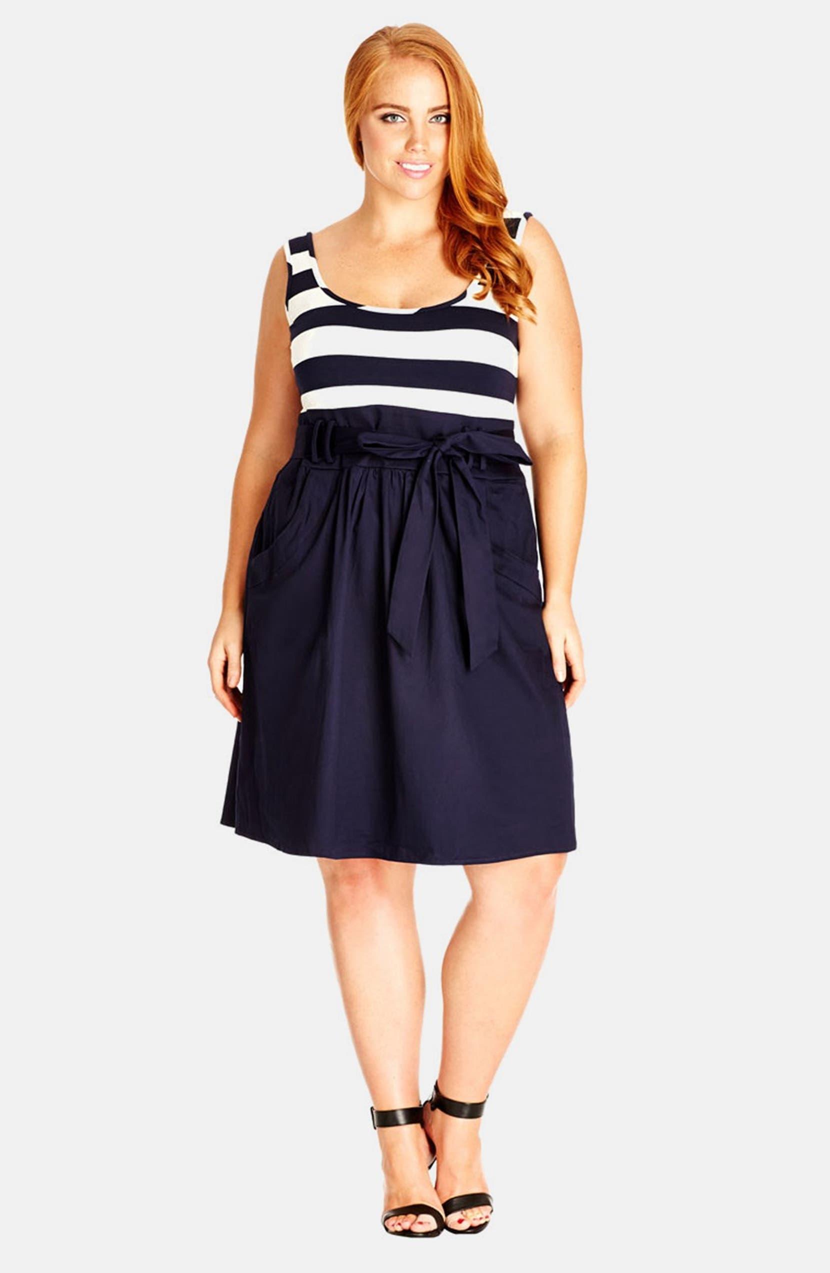 \'Cute Sailor\' Mock 2-Piece Dress
