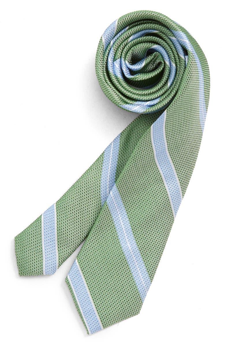 NORDSTROM Jamie Stripe Silk Tie, Main, color, GREEN