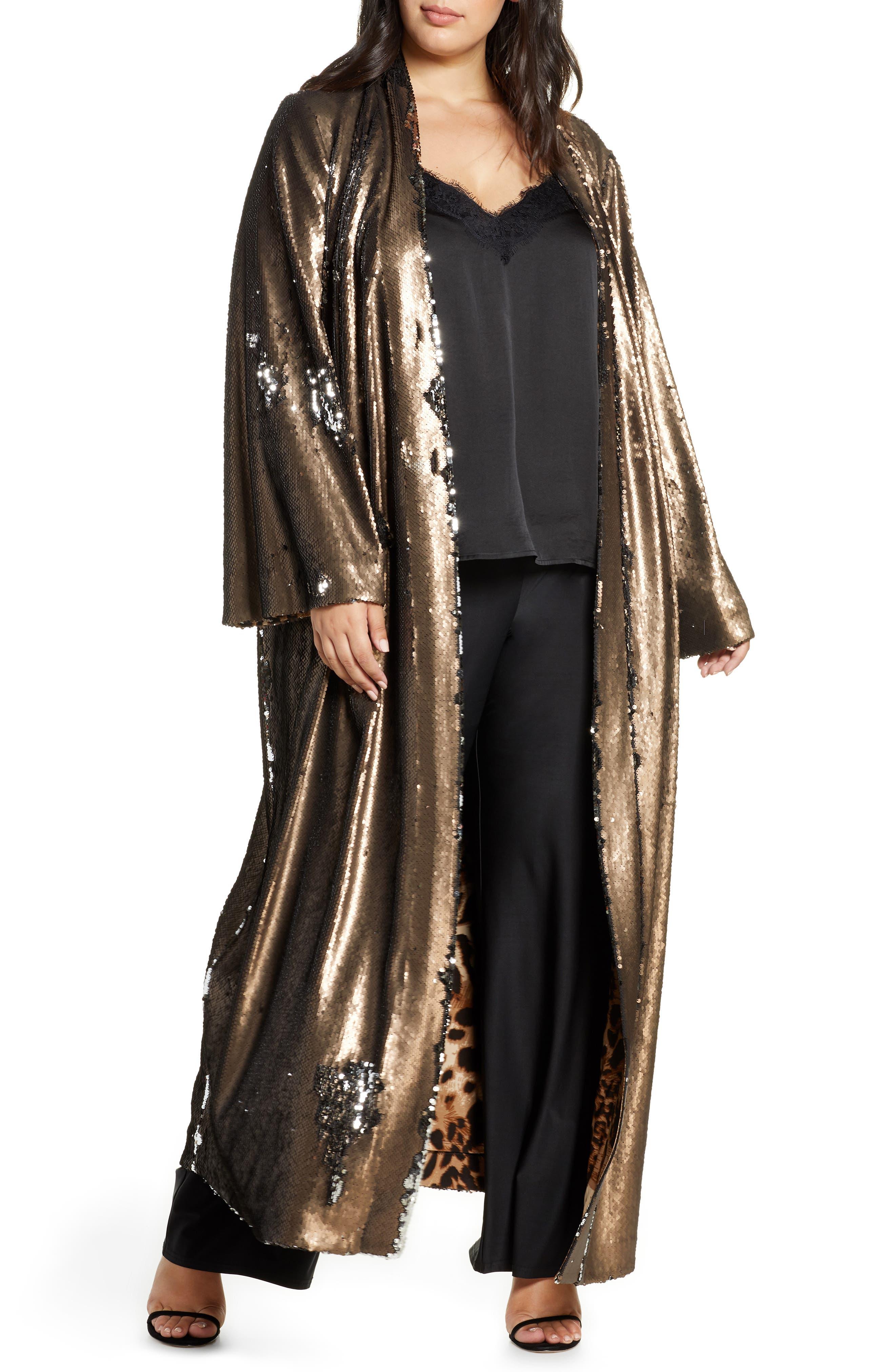 1920s Coats, Flapper Coats, 20s Jackets Plus Size Womens Coldesina Sequin Duster $498.00 AT vintagedancer.com