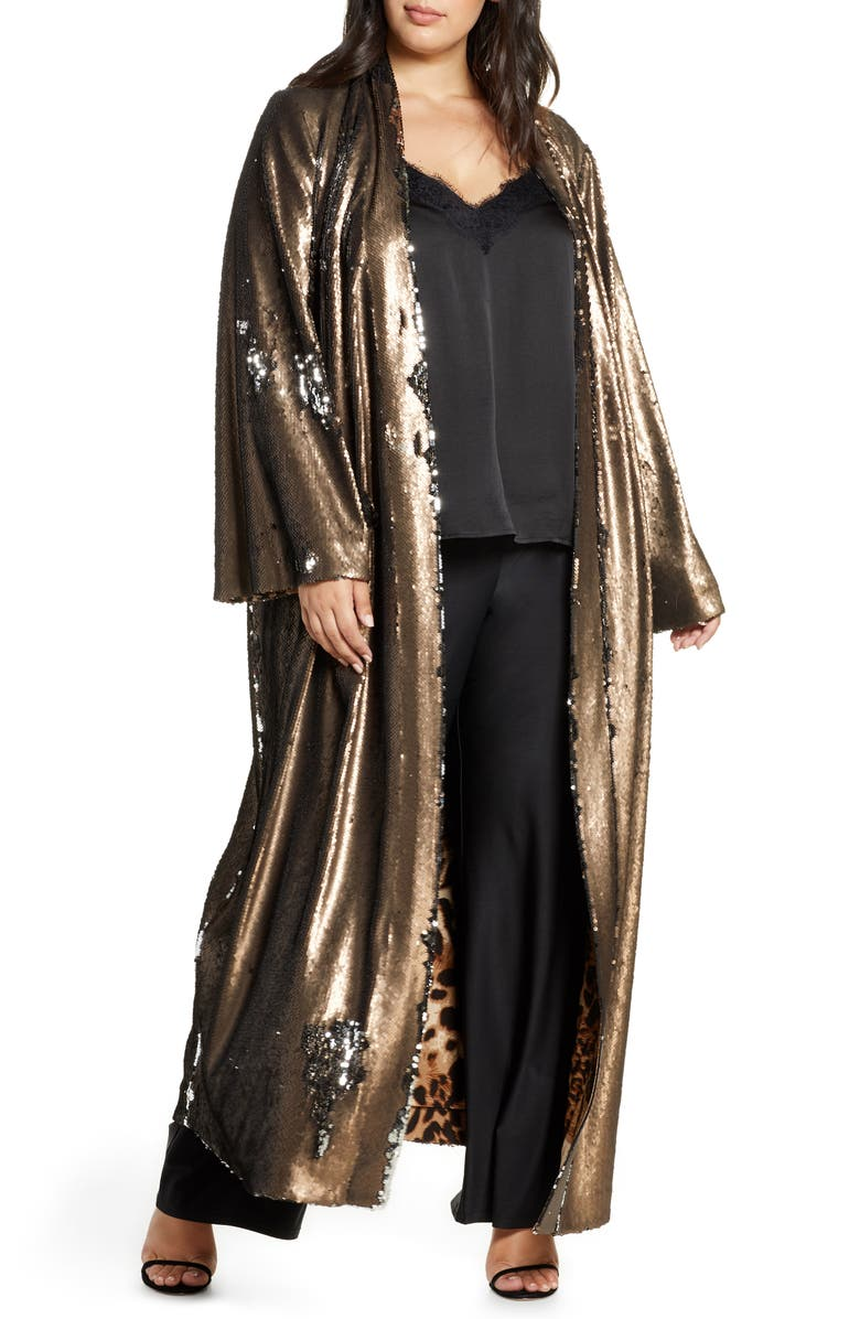 COLDESINA Flip Sequin Duster, Main, color, PEWTER SEQUIN/ LEOPARD LINING