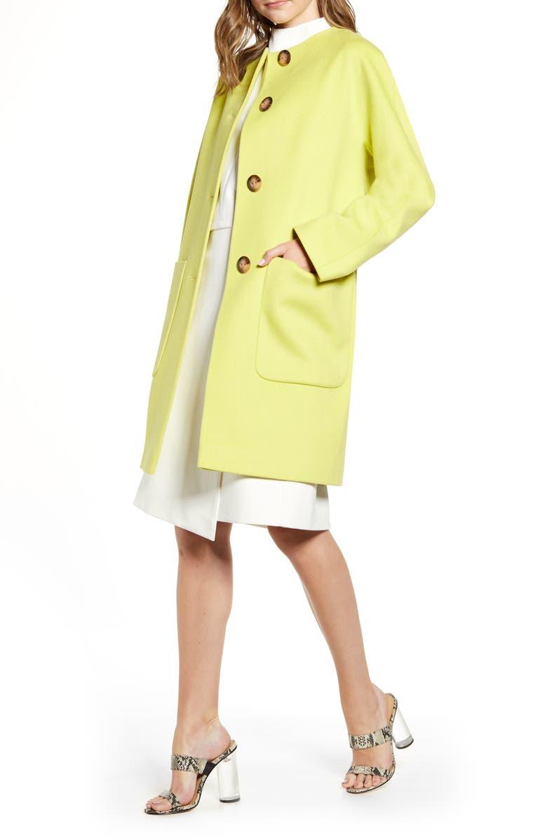 FLEURETTE Collarless Wool Car Coat, Main, color, CELADON