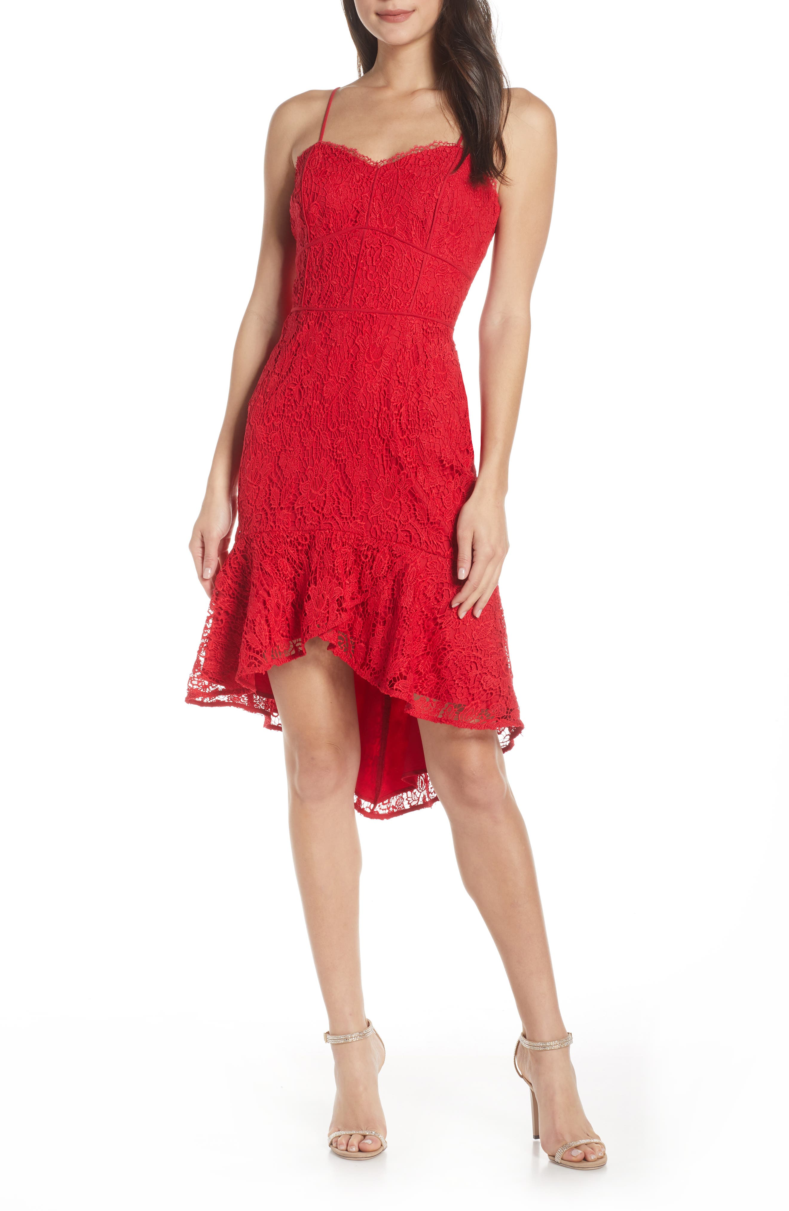 Harlyn Sleeveless Lace High/low Dress, Red