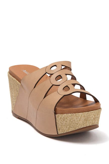 Image of Antelope Leather Slit Cork Wedge Sandal