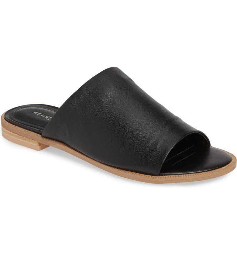 KELSI DAGGER BROOKLYN Ruthie Slide Sandal, Main, color, BLACK LEATHER