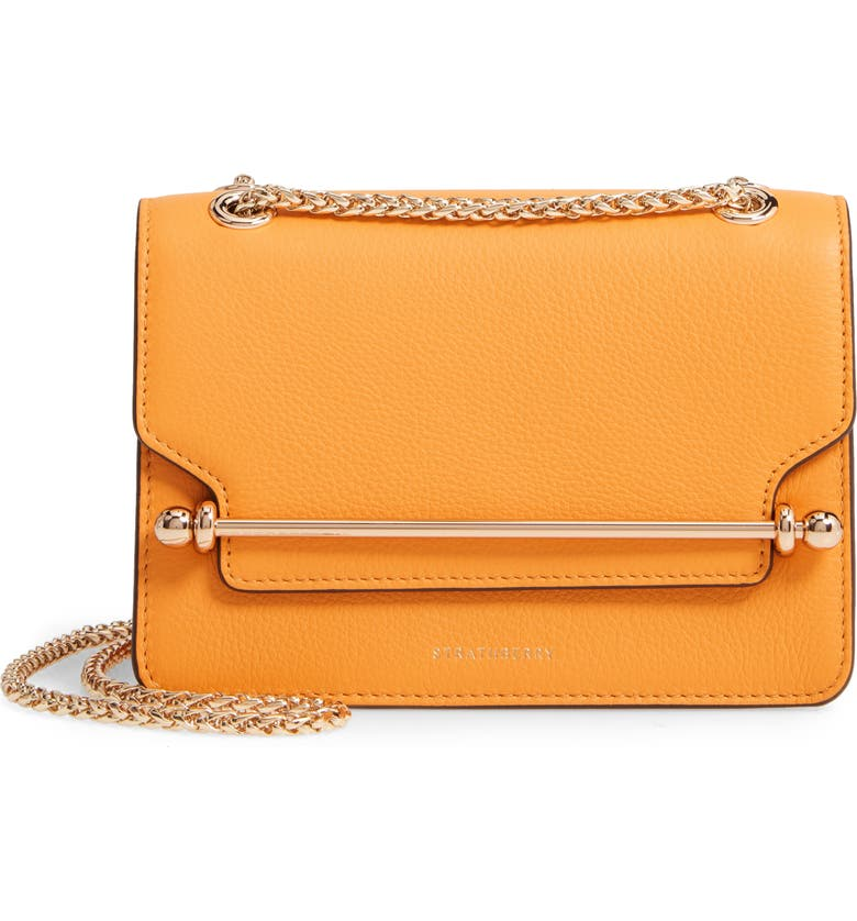 STRATHBERRY Mini East/West Leather Crossbody Bag, Main, color, BLOSSOM YELLOW