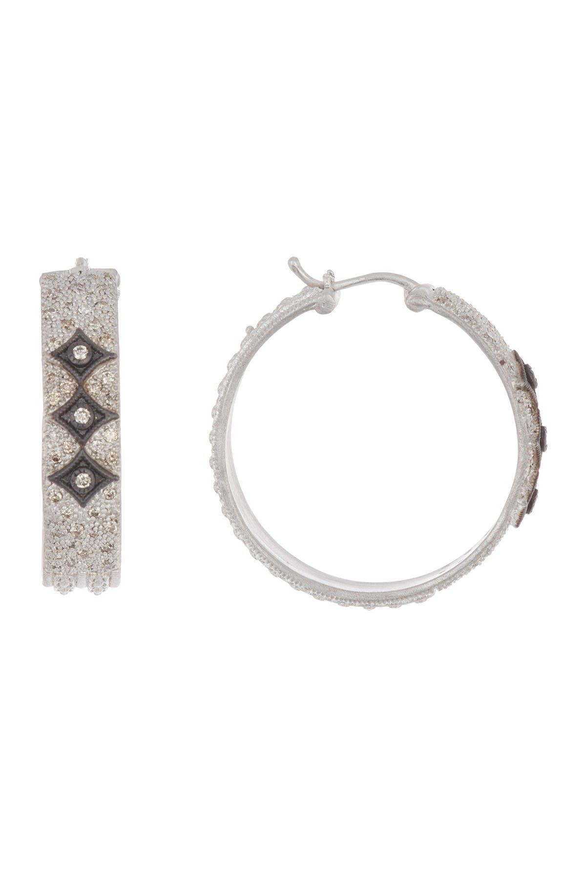 Image of ARMENTA New World Sterling Silver & Champagne Diamond Wide Crivelli Hoop Earrings