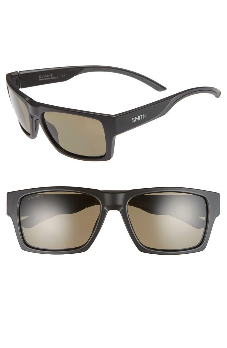 SMITH Outlier 2 57mm ChromaPop<sup>™</sup> Polarized Square Sunglasses, Main, color, 001