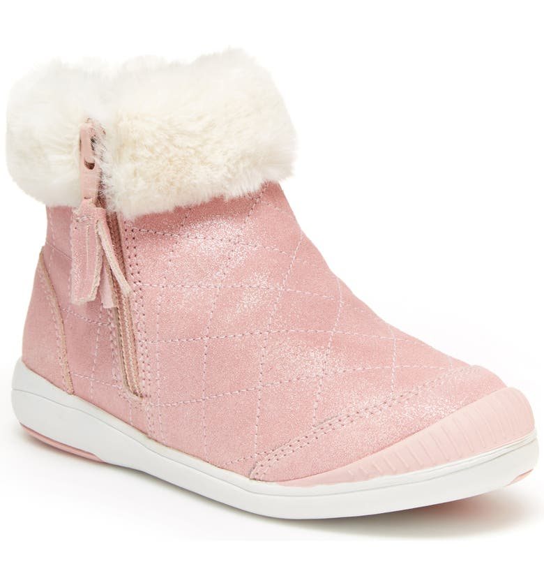 STRIDE RITE Chloe Faux Fur Quilted Bootie, Main, color, PINK