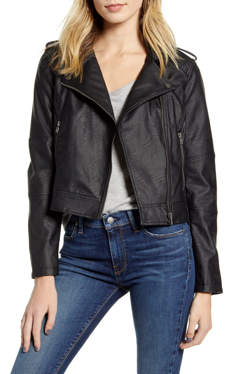 CUPCAKES AND CASHMERE Faux Leather Moto Jacket, Main, color, BLACK