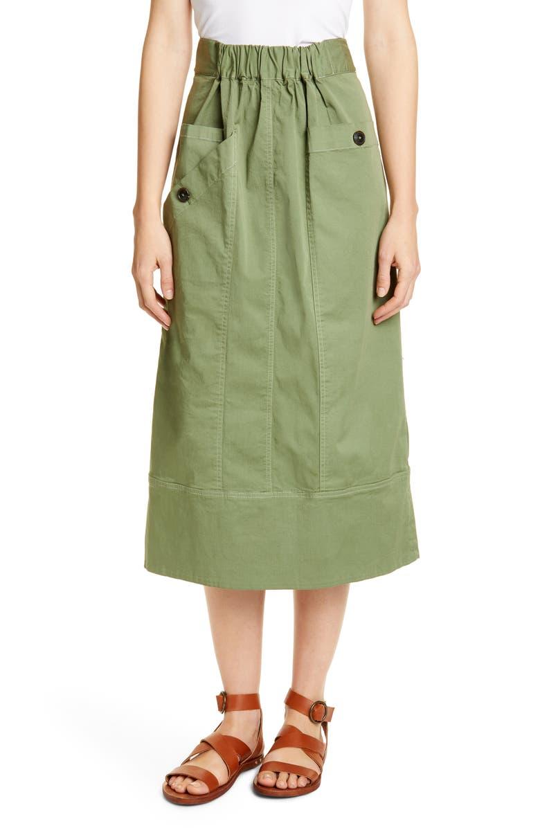 SEA Tula Stretch Cotton Midi Skirt, Main, color, SAGE