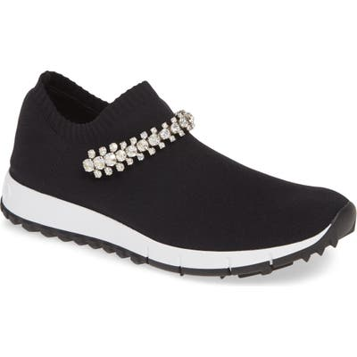 Jimmy Choo Verona Crystal Embellished Knit Sneaker - Black