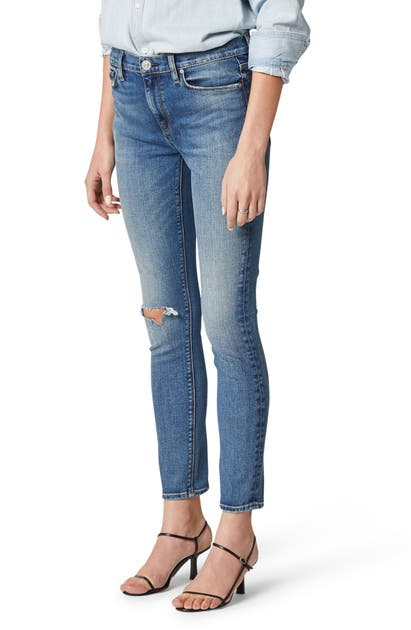 Hudson NICO RIPPED MID RISE ANKLE SKINNY JEANS