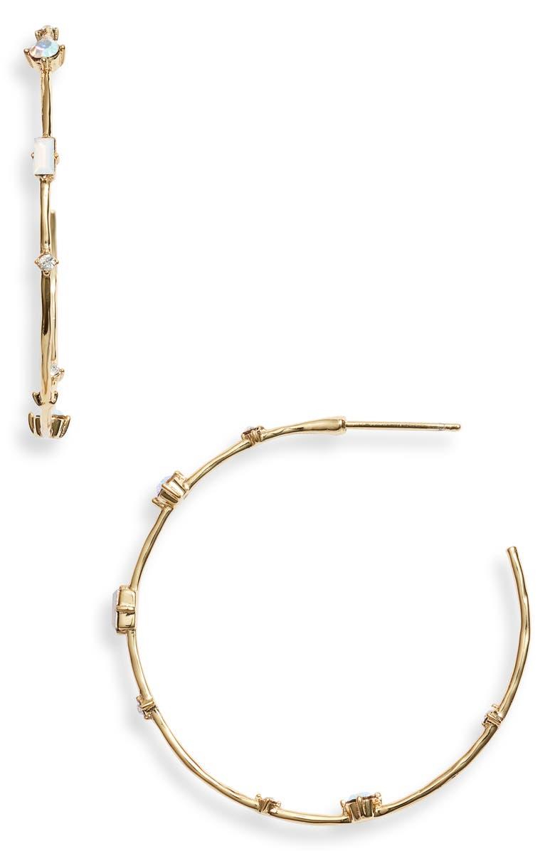GORJANA Dani Hoop Earrings, Main, color, WHITE IRIDESCENT CRYSTAL