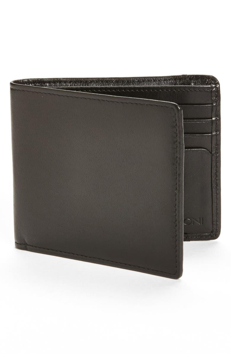 BOCONI Leather Billfold, Main, color, BLACK/ BLUE