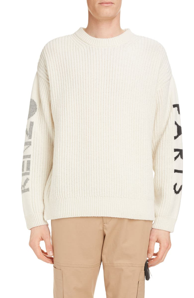 KENZO Paris Oversize Wool Blend Crewneck Sweater, Main, color, ECRU