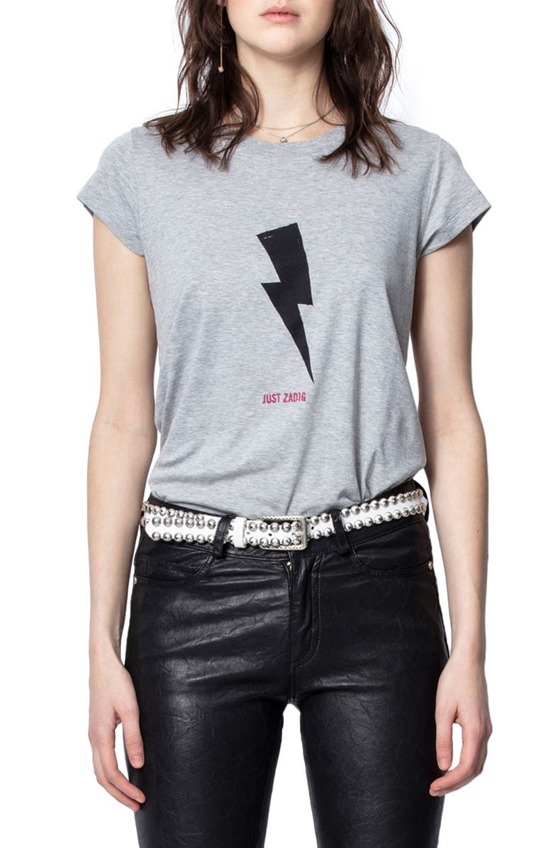 ZADIG & VOLTAIRE Skinny Flashlight Graphic Tee, Main, color, GRIS CHINE