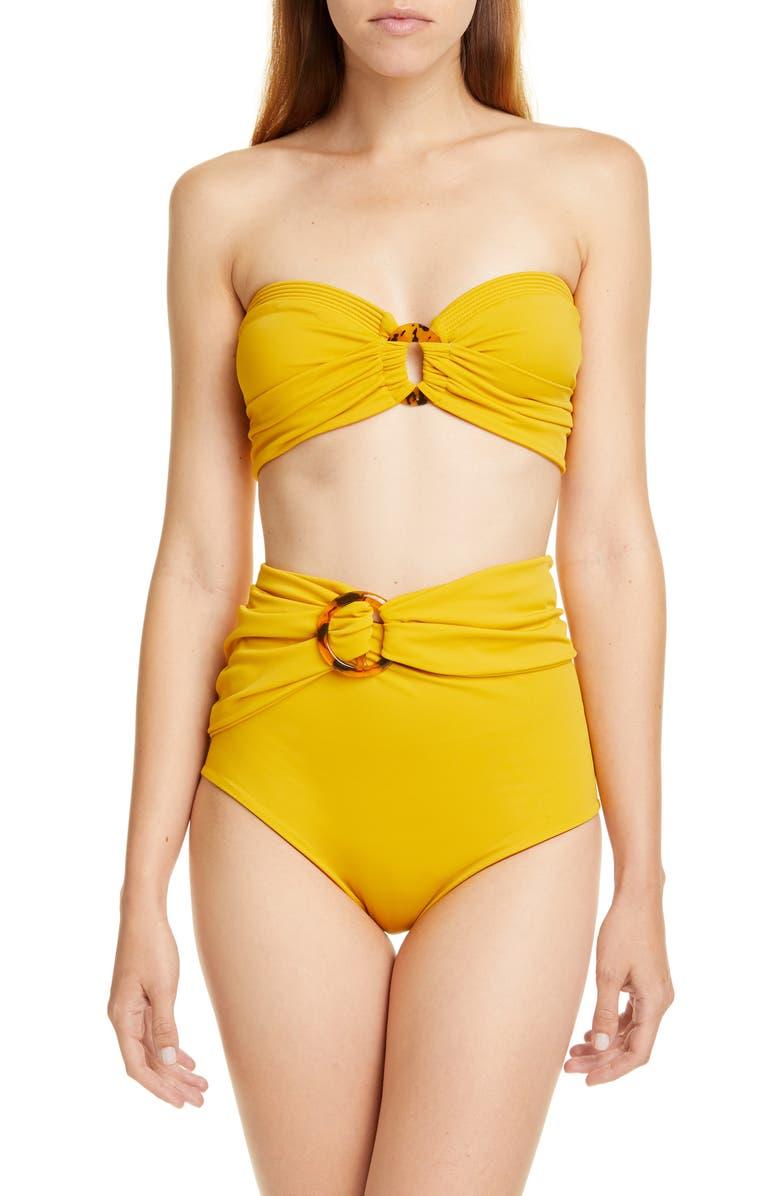 JOHANNA ORTIZ Ring Detail High Waist Bikini Bottoms, Main, color, MARIGOLD