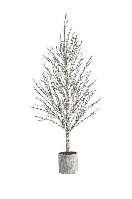 Image of NEARLY NATURAL 4ft. Snowed Twig Artificial Tree in Decorative Planter